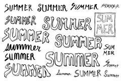 Satz Skizzenlinie VE Gekritzel der Sommerwortillustration der Hand gezeichneten Lizenzfreie Stockfotos