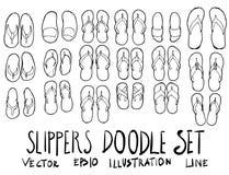 Satz Skizzenlinie vecto Gekritzel der Pantoffelillustration der Hand gezeichneten Lizenzfreie Stockbilder