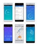 Satz Smartphones Ui Lizenzfreie Stockfotografie