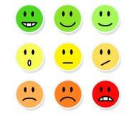 Satz smiley-Stimmungs-Farbe auf Weiß, Vektor-Illustration auf Lager Lizenzfreie Stockbilder