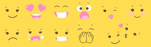 Satz smileygesicht emoji auf gelbem Hintergrund Einfaches Charaktergefühl stock abbildung