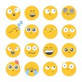 Satz smileyikonen mit unterschiedlichem Gesicht Stockbilder