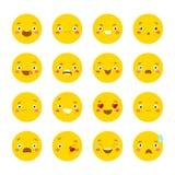 Satz smileyikonen mit unterschiedlichem Gesicht Stockfotos