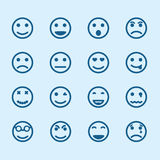 Satz smileyikonen mit verschiedenen Gefühlen Lizenzfreies Stockfoto