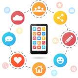 Satz Social Media-Ikonen mit Smartphone Flache Designart Stockfoto