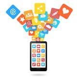 Satz Social Media-Ikonen mit Smartphone Flache Designart Lizenzfreie Stockfotos