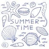 Satz Sommer skizziert die Hand, die im Bleistift gezeichnet wird Stockbild