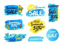 Satz Sommerschlussverkaufzusammensetzungs-Blauhintergrund Stockfoto