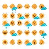 Satz Sonnen mit verschiedenen Gefühlen, dem Lächeln und den traurigen Sonnen Stockbild