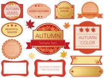 Satz sortierte Aufkleber in den Herbstfarben auf einem weißen Hintergrund, Vektorillustration Stockbild
