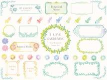 Satz sortierte botanische Frühjahrrahmen, Vektorillustrationen stockfoto