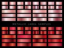 Satz sortierte metallische Aufkleberproben, Vektorillustration stockfotografie