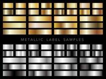 Satz sortierte metallische Gold- und Silberaufkleberproben, Vektorillustration stockfotos