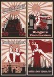 Satz sowjetischer Arbeits-Propaganda-Poster stock abbildung