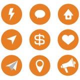 Satz sozialikonen, orange Hintergrund Lizenzfreie Stockfotos