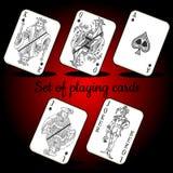 Satz Spielkarten auf einem roten Hintergrund stock abbildung