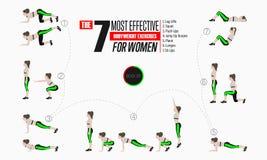 Satz Sportübungen Übungen mit freiem Gewicht Lizenzfreie Abbildung