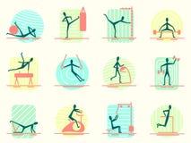 Satz Sportausrüstungsikonen mit der Person, die unterschiedliche Turnhallentätigkeit macht Athletisch, Body Building, Training un Stockbilder