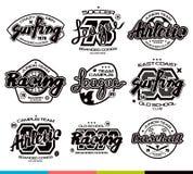 Satz Sportausweise Grafikdesign für T-Shirt Lizenzfreie Stockfotografie