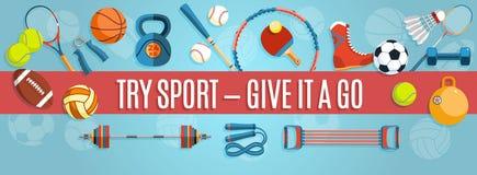 Satz Sportbälle und Spieleinzelteile an einem blauen Hintergrund Gesunde Lebensstilwerkzeuge, Elemente Auch im corel abgehobenen  Stockfotos