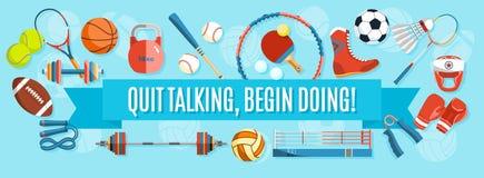 Satz Sportbälle und Spieleinzelteile an einem blauen Hintergrund Gesunde Lebensstilwerkzeuge, Elemente Aufschrift BEENDIGTE ZU SP Stockfotografie