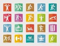 Satz Sportikonen im flachen Design mit Schatten Stockbild
