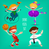 Satz sportive Kinder Stockbild