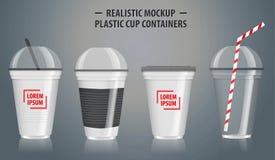 Satz Spott herauf realistische Plastikschalenbeh?lter, mit klarem in den Wegwerfschalen lizenzfreie abbildung