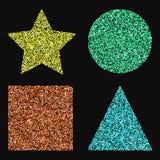 Satz sshiny geometrische Formen des Farbvektors Stockfoto