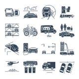 Satz städtischer Transport der schwarzen Ikonen, öffentliche Einrichtungen lizenzfreie abbildung
