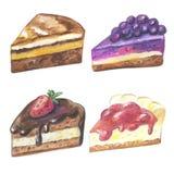 Satz Stücke des Kuchens Hand gezeichnete Aquarellbleistifte Lizenzfreies Stockfoto