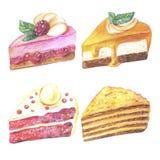 Satz Stücke des Kuchens Hand gezeichnete Aquarellbleistifte Lizenzfreie Stockbilder