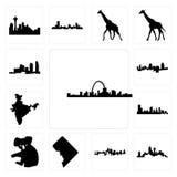 Satz St.- Louisskyline, Dallas-Skyline auf weißem Hintergrund, Kansas- Citydc, Koala, Karte Austins Indien, Long Island Cincinnat Stockfotografie
