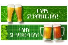 Satz St- Patrick` s Tagesbeschriftungsfahnen Stockbild