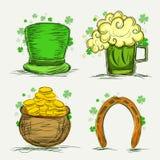 Satz St Patrick Tagesfeierverzierungen Lizenzfreie Stockbilder