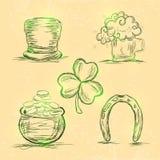 Satz St Patrick Tagesfeierverzierungen Lizenzfreies Stockfoto