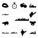 Satz St- Paulskyline auf weißem Hintergrund, Karte des Long Island, Indien, Kansas- Cityskyline, DC-Schweingesicht, Dachs, Koala, Lizenzfreies Stockbild