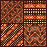 Satz Stammes- afrikanische nahtlose Muster Lizenzfreies Stockfoto