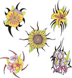 Satz Stammes- Blumentätowierungen Stockfotos