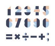 Satz Stellen und mathematische Zeichen Stockbilder
