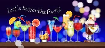 Satz Stemware und Gläser mit Cocktail Stockfoto