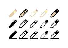 Satz Stift-/Bleistiftikonen stock abbildung