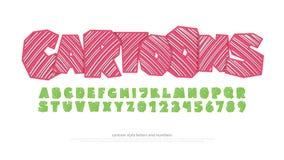 Satz stilisierte Alphabetbuchstaben und -zahlen Vektor, Karikaturart-Gussart Stockfotografie