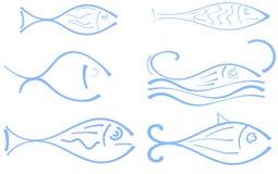 Satz stilisierte Fische stock abbildung