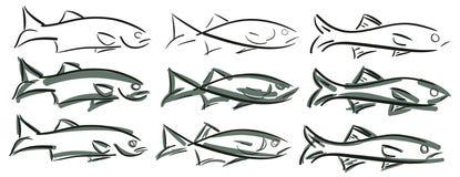 Satz stilisierte Fische lizenzfreie abbildung