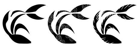 Satz stilisierte Fische und verzierte Blöcke stock abbildung