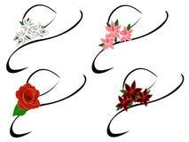 Satz stilvolle Hüte mit Blumen für eine Frau Stockfotografie