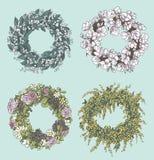 Satz stilvolle Kranzzeichnungen Blüht Dekoration Blumenauslegung? Hintergrund, Hintergrund, Auslegung der Abbildung Auch im corel Stockbilder