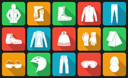 Satz Stoff und Schuhe für Wintersport Lizenzfreie Stockbilder