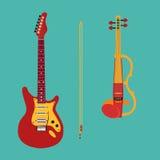 Satz Streichinstrumente Elektrische Violine lizenzfreie abbildung